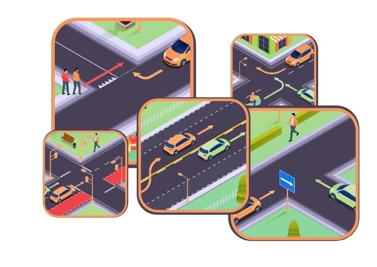 Simulation d'examen pour le permis de conduire